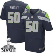 NFL K.J. Wright Seattle Seahawks Elite Team Color Home Super Bowl XLVIII Nike Jersey - Navy Blue