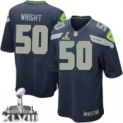 NFL K.J. Wright Seattle Seahawks Game Team Color Home Super Bowl XLVIII Nike Jersey - Navy Blue