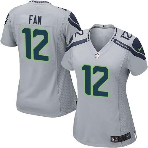 NFL 12th Fan Seattle Seahawks Women's Limited Alternate Nike Jersey - Grey