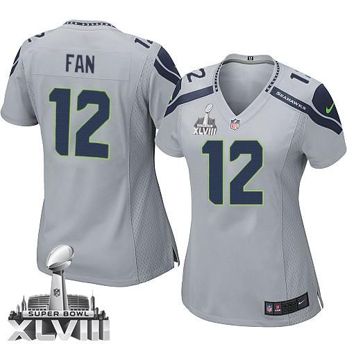 NFL 12th Fan Seattle Seahawks Women's Limited Alternate Super Bowl XLVIII Nike Jersey - Grey