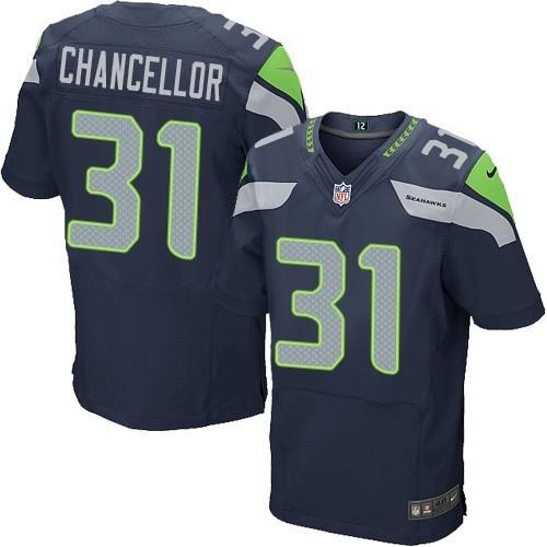 NFL Kam Chancellor Seattle Seahawks Elite Team Color Home Nike Jersey - Navy Blue
