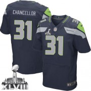 NFL Kam Chancellor Seattle Seahawks Elite Team Color Home Super Bowl XLVIII Nike Jersey - Navy Blue