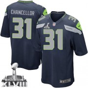 NFL Kam Chancellor Seattle Seahawks Game Team Color Home Super Bowl XLVIII Nike Jersey - Navy Blue
