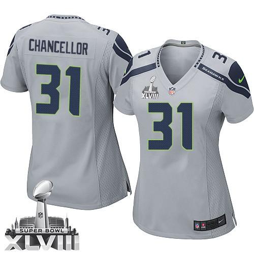NFL Kam Chancellor Seattle Seahawks Women's Elite Alternate Super Bowl XLVIII Nike Jersey - Grey