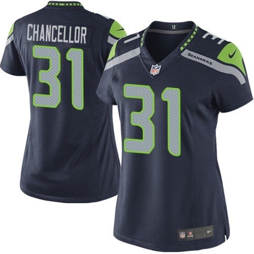NFL Kam Chancellor Seattle Seahawks Women's Elite Team Color Home Nike Jersey - Navy Blue