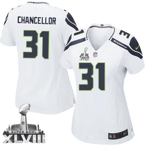 NFL Kam Chancellor Seattle Seahawks Women's Elite Road Super Bowl XLVIII Nike Jersey - White
