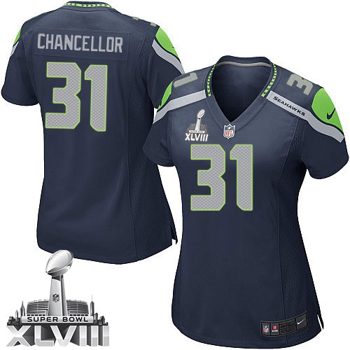 NFL Kam Chancellor Seattle Seahawks Women's Game Team Color Home Super Bowl XLVIII Nike Jersey - Navy Blue