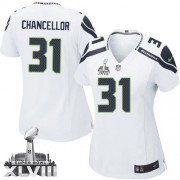 NFL Kam Chancellor Seattle Seahawks Women's Game Road Super Bowl XLVIII Nike Jersey - White