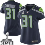 NFL Kam Chancellor Seattle Seahawks Women's Limited Team Color Home Super Bowl XLVIII Nike Jersey - Navy Blue