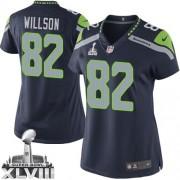 NFL Luke Willson Seattle Seahawks Women's Limited Team Color Home Super Bowl XLVIII Nike Jersey - Navy Blue