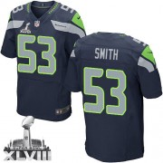 NFL Malcolm Smith Seattle Seahawks Elite Team Color Home Super Bowl XLVIII Nike Jersey - Navy Blue
