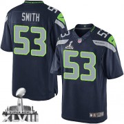 NFL Malcolm Smith Seattle Seahawks Limited Team Color Home Super Bowl XLVIII Nike Jersey - Navy Blue