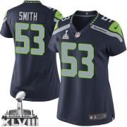 NFL Malcolm Smith Seattle Seahawks Women's Elite Team Color Home Super Bowl XLVIII Nike Jersey - Navy Blue