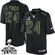 NFL Marshawn Lynch Seattle Seahawks Elite Super Bowl XLVIII Nike Jersey - Black Impact