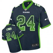 NFL Marshawn Lynch Seattle Seahawks Elite Drift Fashion Nike Jersey - Navy Blue