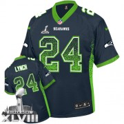 NFL Marshawn Lynch Seattle Seahawks Elite Drift Fashion Super Bowl XLVIII Nike Jersey - Navy Blue