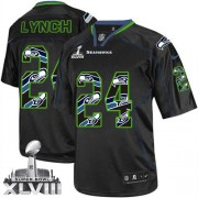 NFL Marshawn Lynch Seattle Seahawks Elite Super Bowl XLVIII Nike Jersey - New Lights Out Black