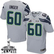 NFL Max Unger Seattle Seahawks Elite Alternate Super Bowl XLVIII C Patch Nike Jersey - Grey