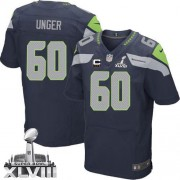 NFL Max Unger Seattle Seahawks Elite Team Color Home Super Bowl XLVIII C Patch Nike Jersey - Navy Blue