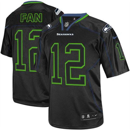 NFL 12th Fan Seattle Seahawks Elite Nike Jersey - Lights Out Black