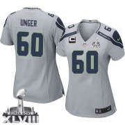 NFL Max Unger Seattle Seahawks Women's Elite Alternate Super Bowl XLVIII C Patch Nike Jersey - Grey