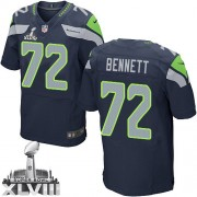 NFL Michael Bennett Seattle Seahawks Elite Team Color Home Super Bowl XLVIII Nike Jersey - Navy Blue