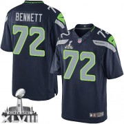 NFL Michael Bennett Seattle Seahawks Limited Team Color Home Super Bowl XLVIII Nike Jersey - Navy Blue