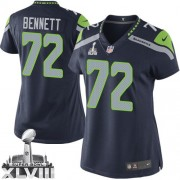 NFL Michael Bennett Seattle Seahawks Women's Limited Team Color Home Super Bowl XLVIII Nike Jersey - Navy Blue