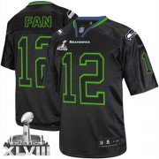 NFL 12th Fan Seattle Seahawks Elite Super Bowl XLVIII Nike Jersey - Lights Out Black