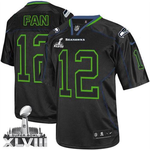 NFL 12th Fan Seattle Seahawks Elite Super Bowl XLVIII Nike Jersey - Lights Out Black