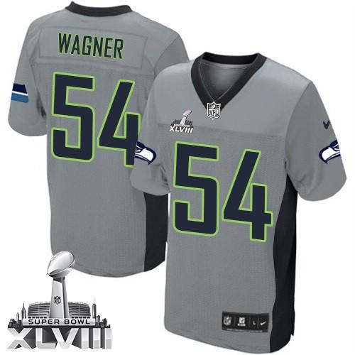 NFL Bobby Wagner Seattle Seahawks Elite Super Bowl XLVIII Nike Jersey - Grey Shadow