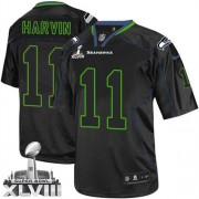 NFL Percy Harvin Seattle Seahawks Elite Super Bowl XLVIII Nike Jersey - Lights Out Black