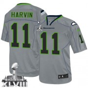 NFL Percy Harvin Seattle Seahawks Elite Super Bowl XLVIII Nike Jersey - Lights Out Grey