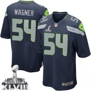 NFL Bobby Wagner Seattle Seahawks Game Team Color Home Super Bowl XLVIII Nike Jersey - Navy Blue