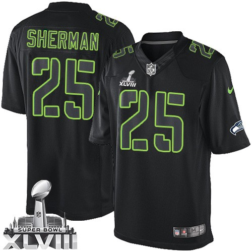 NFL Richard Sherman Seattle Seahawks Elite Super Bowl XLVIII Nike Jersey - Black  Impact 6511d2102