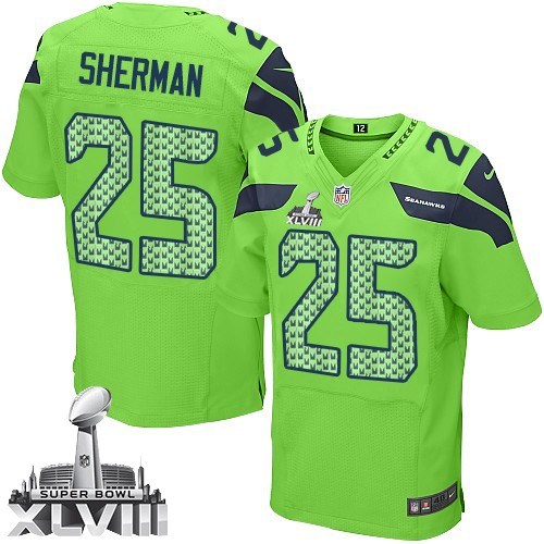 NFL Richard Sherman Seattle Seahawks Elite Alternate Super Bowl XLVIII Nike  Jersey - Green 3cb906c70