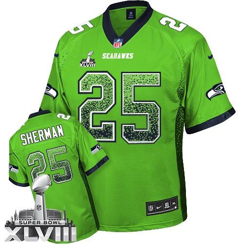 sale retailer 1ebed 66a5b NFL Richard Sherman Seattle Seahawks Elite Drift Fashion Super Bowl XLVIII  Nike Jersey - Green