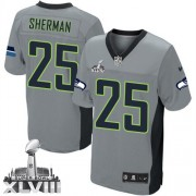 NFL Richard Sherman Seattle Seahawks Elite Super Bowl XLVIII Nike Jersey - Grey Shadow