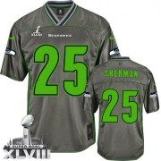 NFL Richard Sherman Seattle Seahawks Elite Vapor Super Bowl XLVIII Nike Jersey - Grey