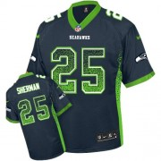 NFL Richard Sherman Seattle Seahawks Elite Drift Fashion Nike Jersey - Navy Blue