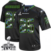NFL Richard Sherman Seattle Seahawks Elite Super Bowl XLVIII Nike Jersey - New Lights Out Black