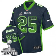 NFL Richard Sherman Seattle Seahawks Game Drift Fashion Super Bowl XLVIII Nike Jersey - Navy Blue