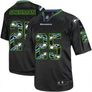NFL Richard Sherman Seattle Seahawks Game Nike Jersey - New Lights Out Black