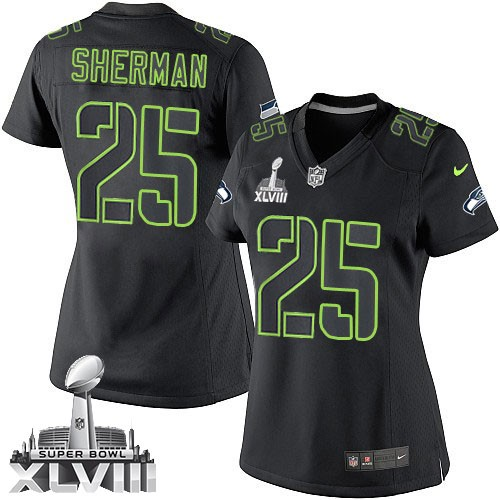 NFL Richard Sherman Seattle Seahawks Women s Limited Super Bowl XLVIII Nike  Jersey - Black Impact 15c34858a