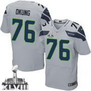 NFL Russell Okung Seattle Seahawks Elite Alternate Super Bowl XLVIII Nike Jersey - Grey