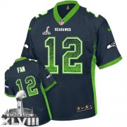 NFL 12th Fan Seattle Seahawks Elite Drift Fashion Super Bowl XLVIII Nike Jersey - Navy Blue