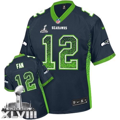 NFL 12th Fan Seattle Seahawks Elite Drift Fashion Super Bowl XLVIII Nike Jersey - Navy Blue