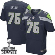 NFL Russell Okung Seattle Seahawks Elite Team Color Home Super Bowl XLVIII Nike Jersey - Navy Blue