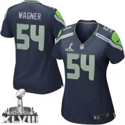NFL Bobby Wagner Seattle Seahawks Women's Game Team Color Home Super Bowl XLVIII Nike Jersey - Navy Blue
