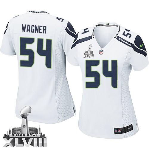 NFL Bobby Wagner Seattle Seahawks Women s Game Road Super Bowl XLVIII Nike  Jersey - White ffb5b8d79